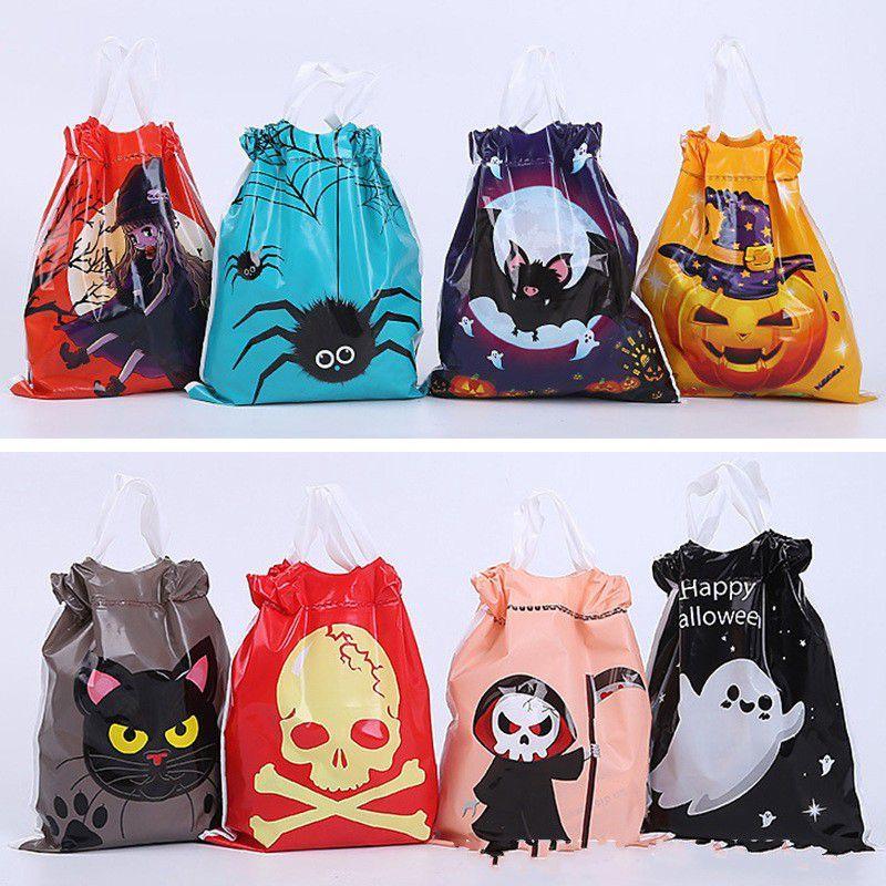 Fantasma de Halloween caramelo con asas de plástico Bat araña bruja calabaza Impreso almacenamiento DHB514