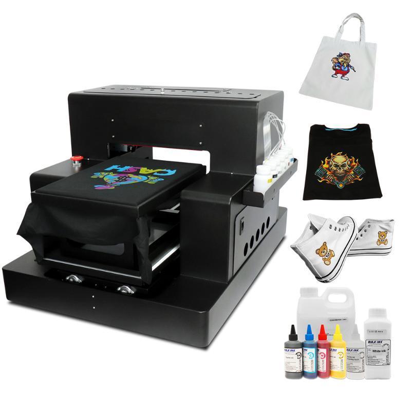 의류 프린터에 캔버스 가방 구두 까마귀 직접위한 섬유 잉크와 자동 A3 DTG 프린터 평판 T 셔츠 인쇄 기계