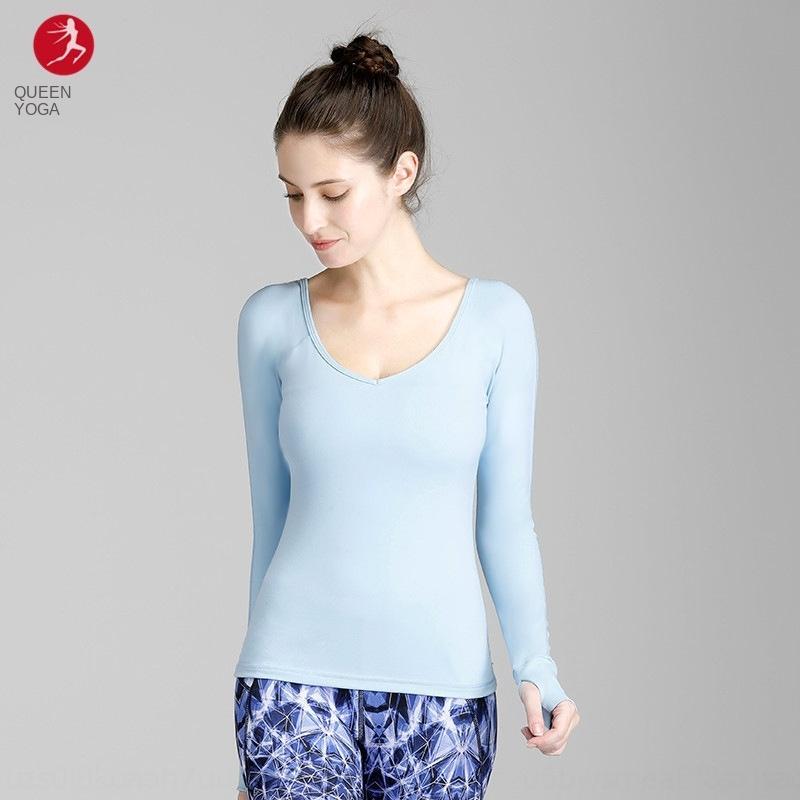 Exercício da aptidão Rainha Exercício T-shirt ostenta fitnessyoga outono vestuário das mulheres e inverno T-shirt novo yoga Slim Fit longa esportes luva f