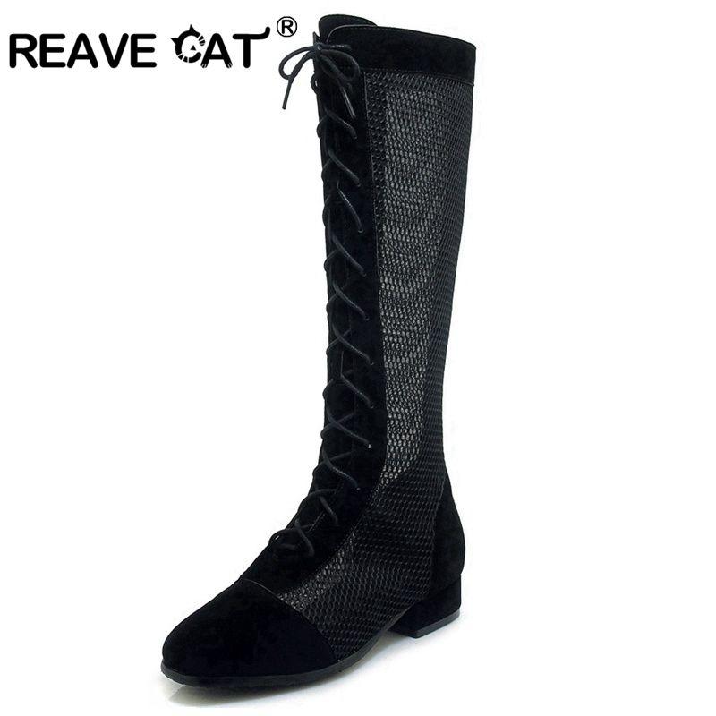 부츠 Reave 고양이 봄 여름 여성 메쉬 무릎 부팅 평면 발 뒤꿈치 레이스 업 신발 신발 무리 섹시한 2021 숙녀 A1680