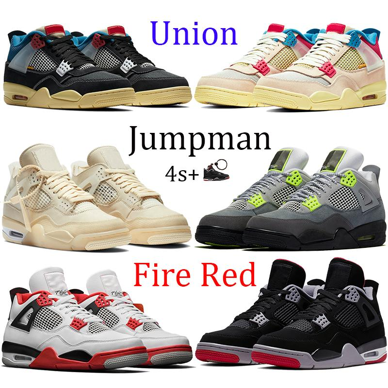 Новый 4 4s союз нуар гуавы льда Jumpman Мужчины Баскетбол обувь парус Неон металлический фиолетовый баскетбол кроссовки черный кот разводили огонь красных Тренеры