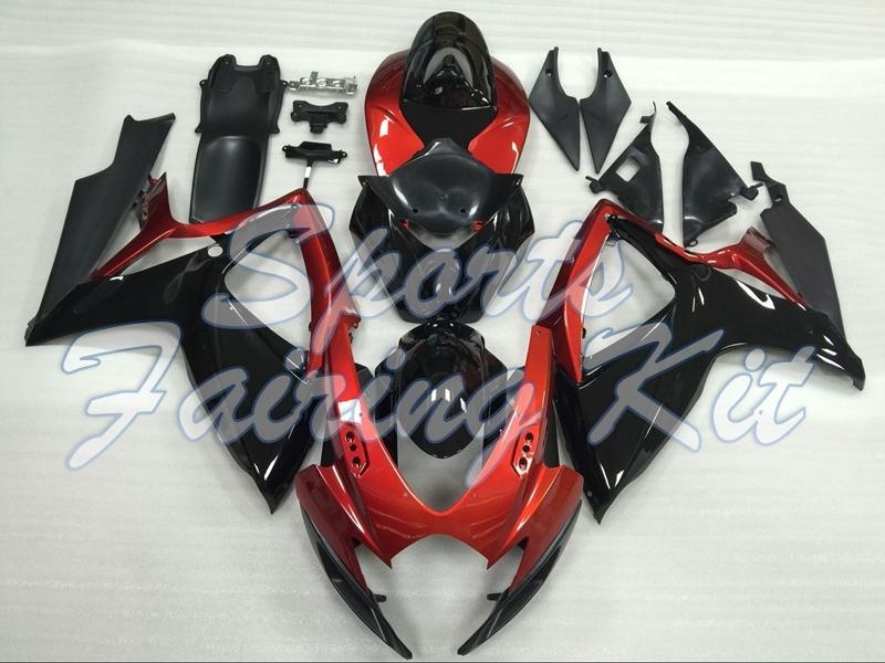 Carenado para GSXR750 2006 - 2007 K6 Negro Rojo 12 Kits de cuerpo completo GSXR 600 2006 carenados para Suzuki GSXR600 06
