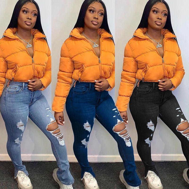 Agujeros de 2020 nuevo de las mujeres de los pantalones vaqueros de cintura alta pantalones divididos ahueca hacia fuera la manera delgada de los pantalones del lápiz de la calle flaco jeans rasgados Mujer 6190
