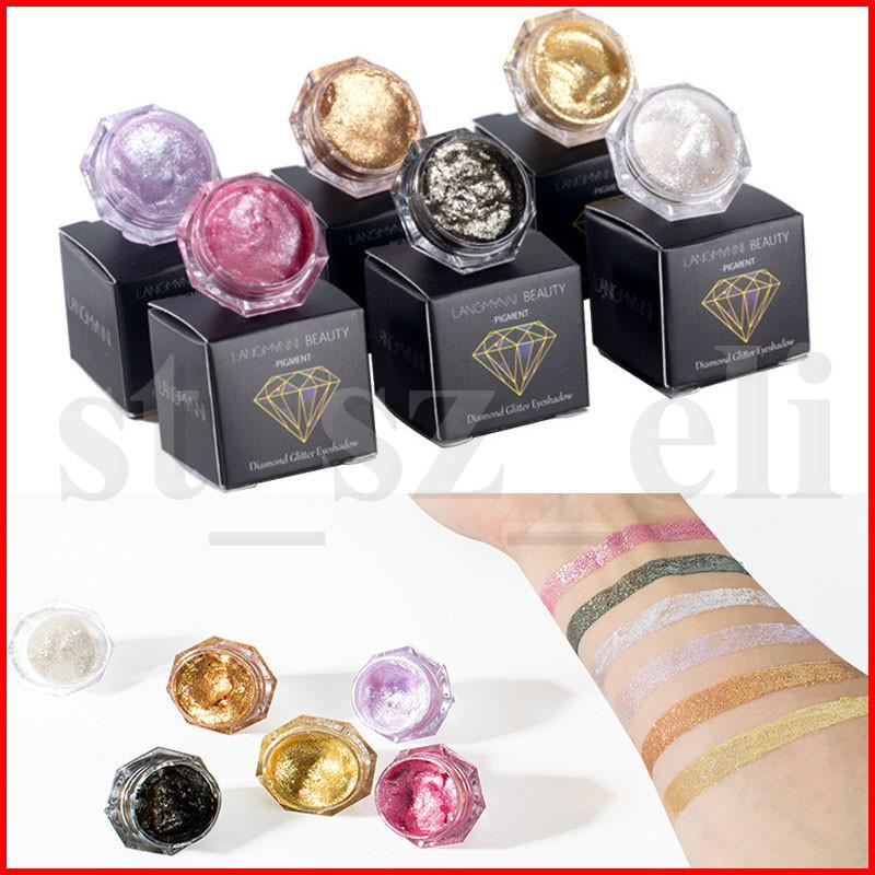 Langmanni schoonheid 6 kleuren diamanten parel vloeibare oogschaduw glanzende glitter pigment oog schaduw markeerstift crème 5g