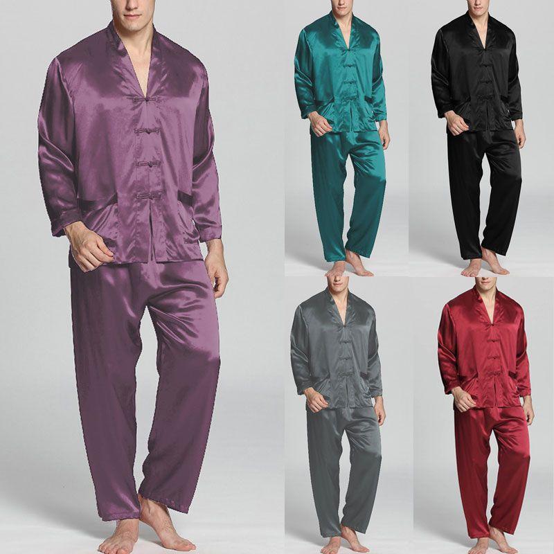 2021 Men Sleep Sets Men Fashion Pajamas Sets Long Sleeve V Neck Faux Silk  Satin Solid Color Nightwear Loose Button Sleepwear Homewear From  Splendid99, $29.37   DHgate.Com