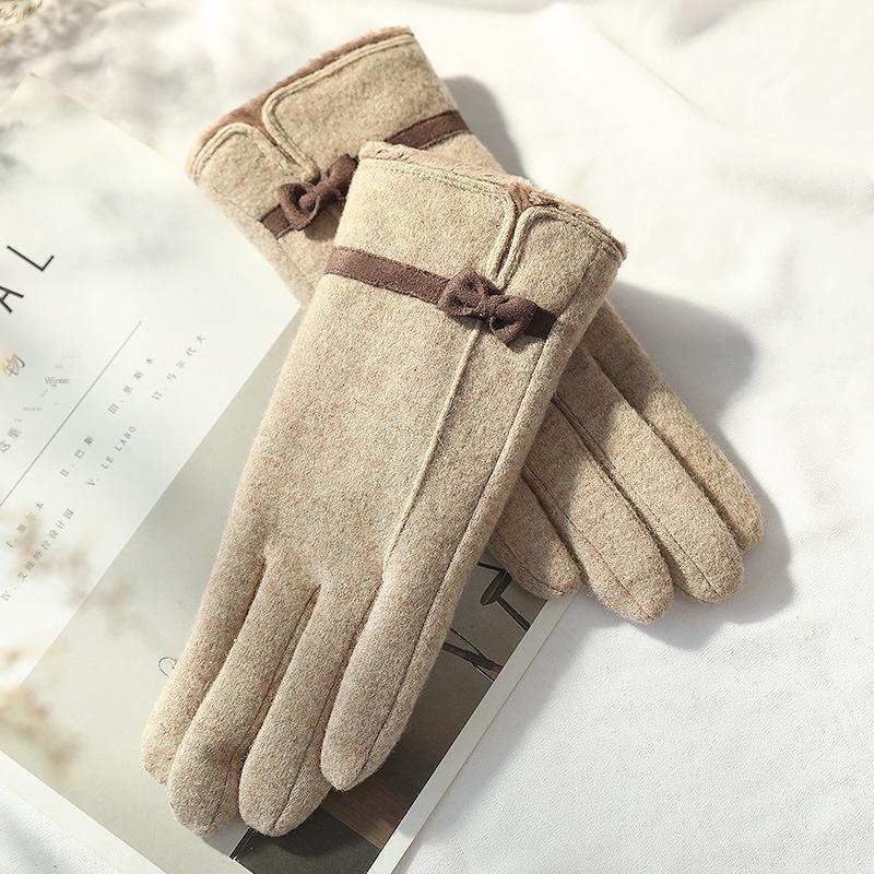 velluto di inverno delle donne addensato caldo cashmere autunno caldo sottile che guida i guanti a cinque dita di guida guanti di lana touch screen e9S3L