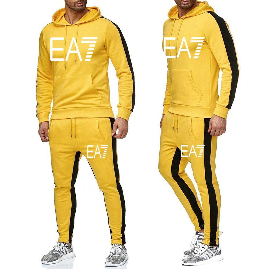 Новый бренд Cousssuit Мужчины Мода Мужские толстовки Костюмы спортивные Мужские толстовки + спортивные штаны осень зимний флис с капюшоном пуловер
