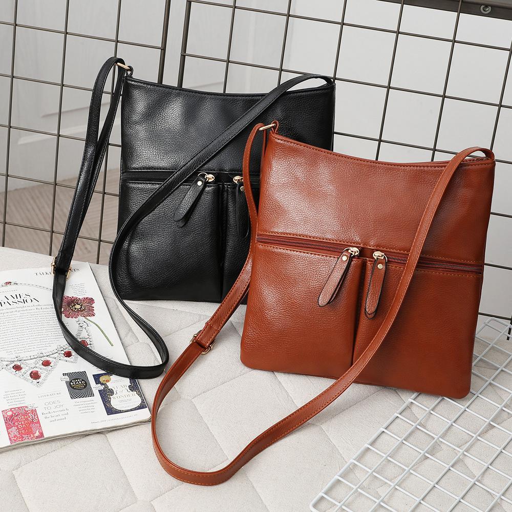 Vintage couleur unie épaule unique poignée casual femmes PU cuir poches avant sac bandoulière Zipper dame sac à bandoulière de sac à main de mode