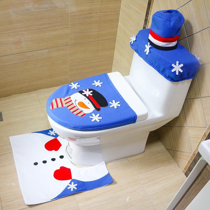 مل 3pcs / مجموعة زينة عيد الميلاد للمنزل الحمام مجموعة تغطية مقعد المرحاض حصيرة حمام حامل Closestool غطاء غطاء رأس السنة ديكور المنزل