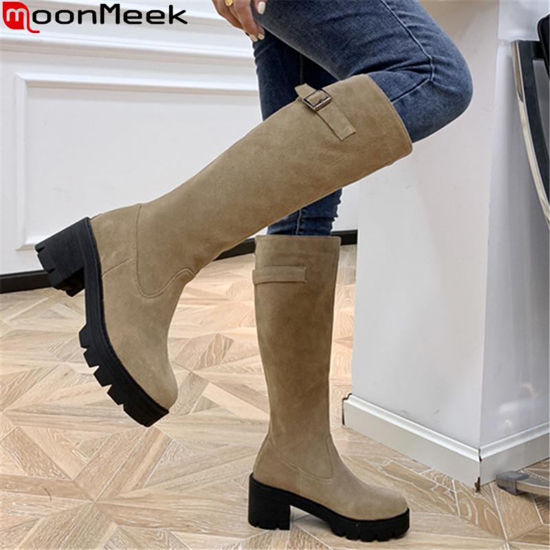 MoonMeek donna stivali 2020 di alta qualità di spessore tacchi alti rotonde scarpe da donna punta di colore solido di inverno stivali al ginocchio nero