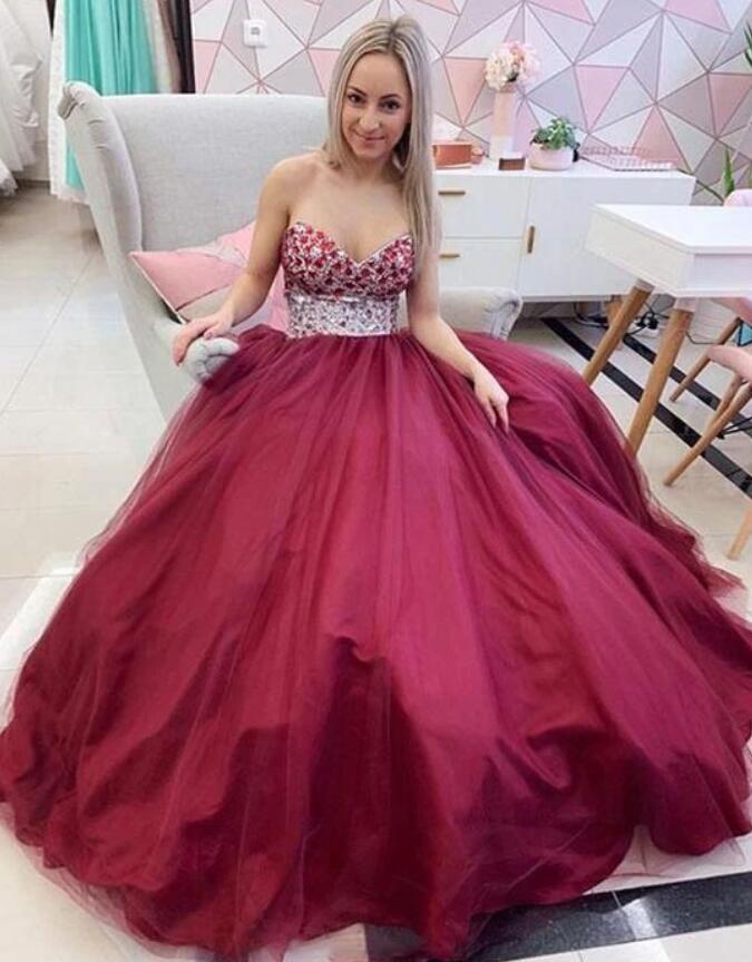 Elegante Promkleider Charme-Korn-Tops Tüll Abendkleid Schatz Hohe Taille Lange Abendkleid für Specail Ocassions C115