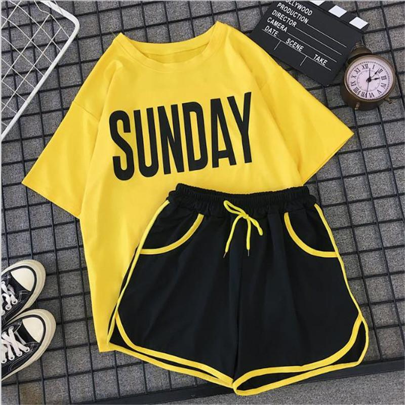 Tracksuits Casual 2pcs Suits Fashion Clothing Sets Contrast Women Summer Crew Neck Panelled Designer Ladies Clothing