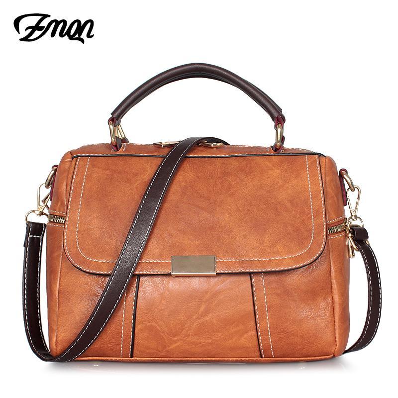 Designer-ZMQN Crossbody Bag For Women 2020 Vintage Small Cross Body Shoulder Bag Cheap Women Leather Handbag Female Boston Brown C256
