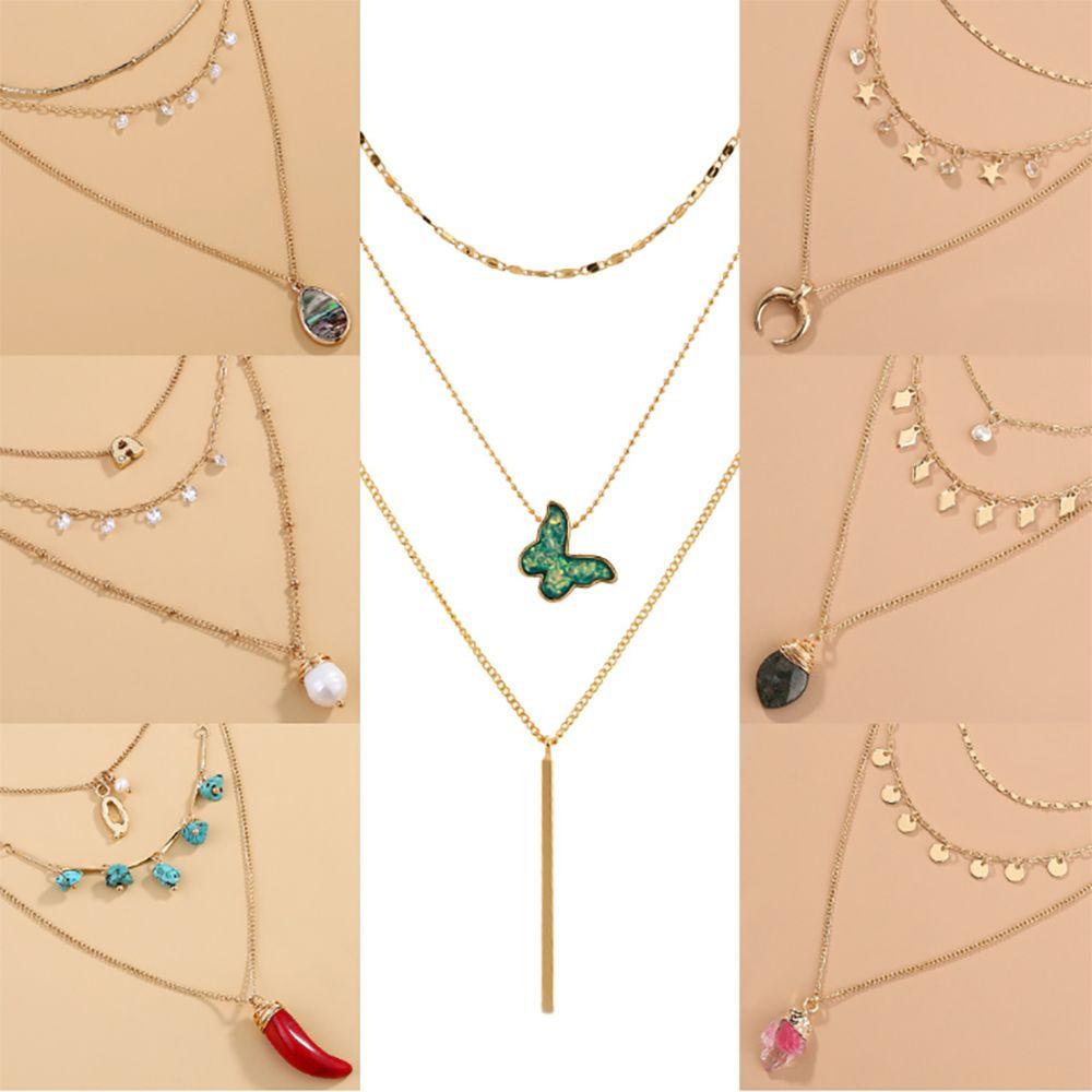Ожерелье европейской и американской Личность Многослойного дизайна ожерелье ювелирных изделий богемской кисточка бабочка Подвеска для подарка ювелирных изделий способа