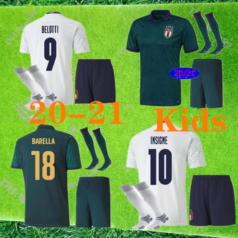 Italie maison 2020 maillot de football Italie 20 21 italia maglie da calcio Verratti Jorginho Immobile Bonucci Kit enfant + chaussettes chemises de football
