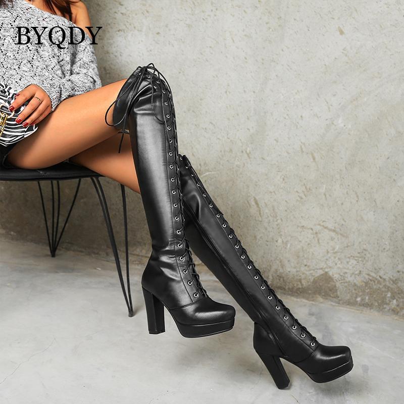 BYQDY hiver Croix-égalité femmes Cuissardes Grand 41-48 noir sexy talon haut Cuissardes genou avec fermeture éclair latérale pour les grandes filles