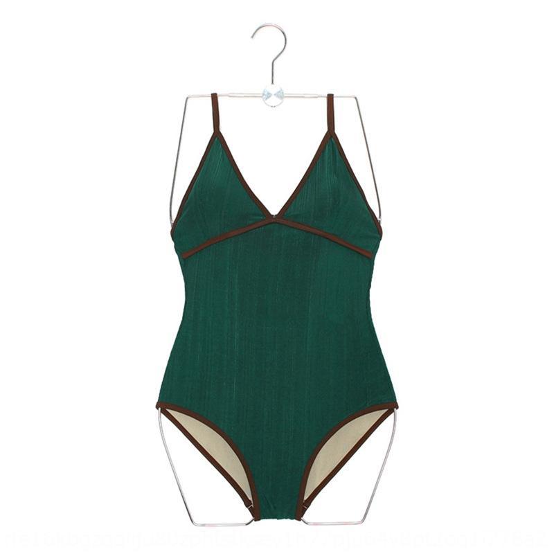 V-cuello de la pequeña en el pecho del traje de baño de aguas termales de sBS2G mujeres del traje de baño de una sola pieza atractivo del traje de baño de la primavera triángulo de adelgazamiento sin respaldo caliente