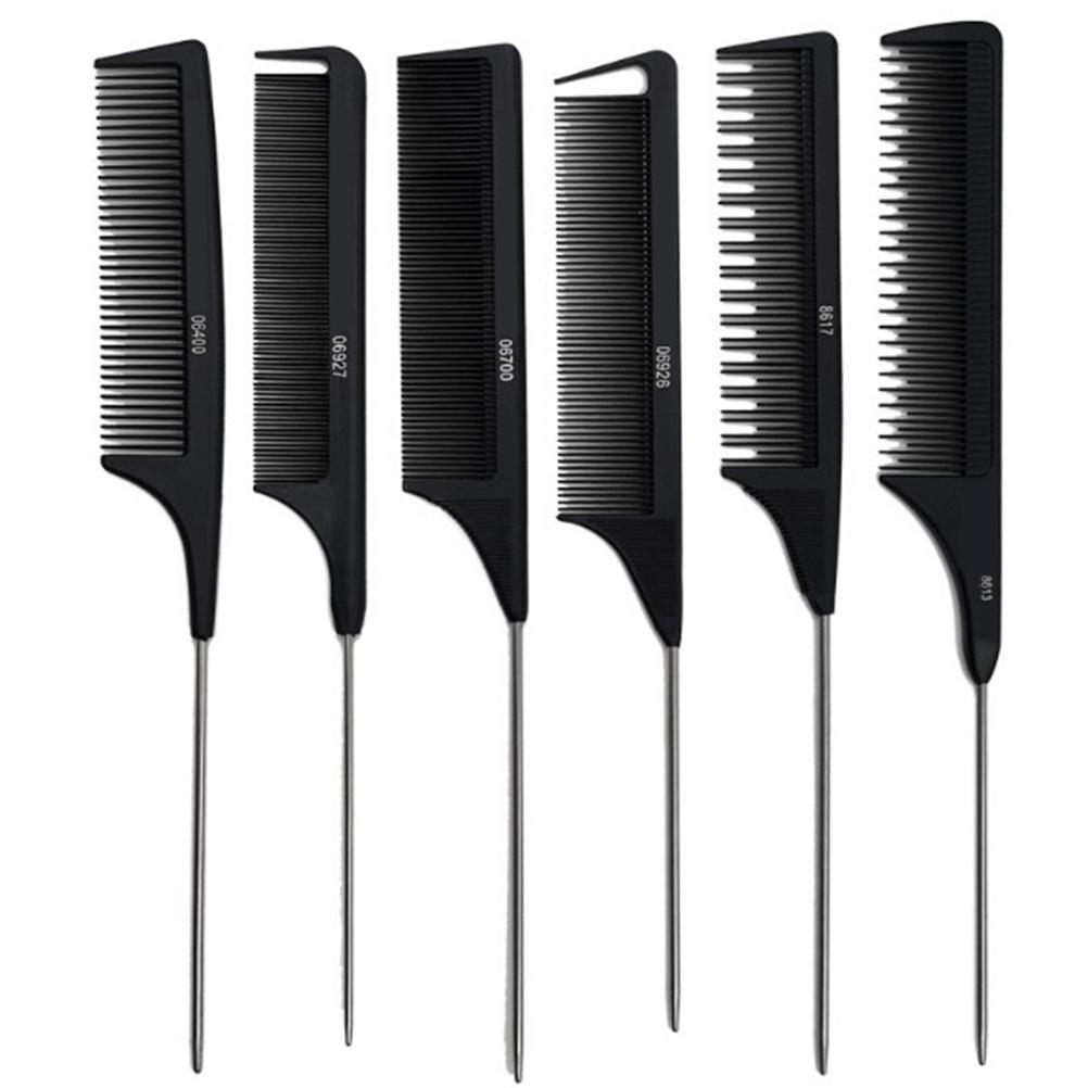 Профессионального Термостойкого салон черного Pin металла Хвост Антистатического Comb резка Гребень щетка для волос Ухода за волосы J2712