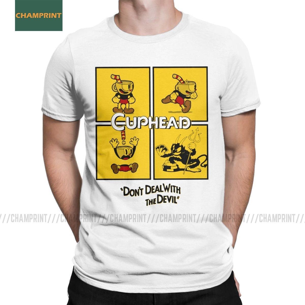 Paneles Cuphead Camisetas de algodón para hombres camisetas divertidas de dibujos animados Animación Gamer Juego Mugman ratón de la taza Camiseta de manga corta Ropa