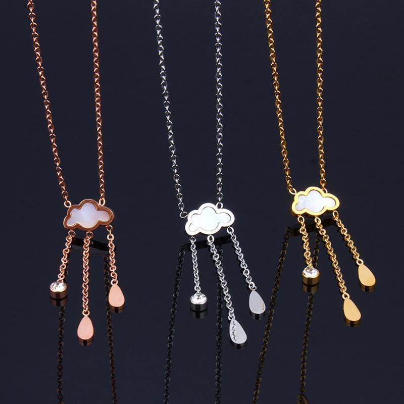 collar de cadena de acero inoxidable amistad ropa accesorios joyería de las mujeres de las mujeres collar colgante de época nube en forma de