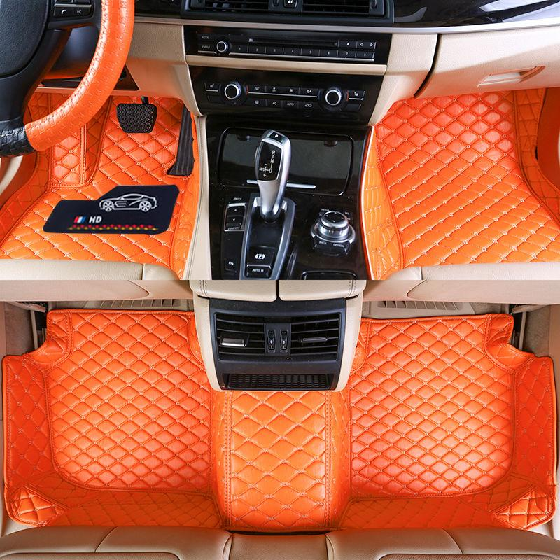 Custom Fit Tapis d'auto spécifique étanche PU Matière cuir Respectueux VAST de modèle de voiture et faire 3 pièces Ensemble complet Tapis orange