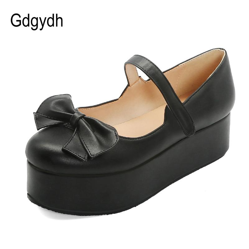 Gdgydh Женщины Flat платформы обувь 2020 Новая весна Сладкая Лолита обувь форменные луки Розовый Красный Черный Maid Cosplay Лолита