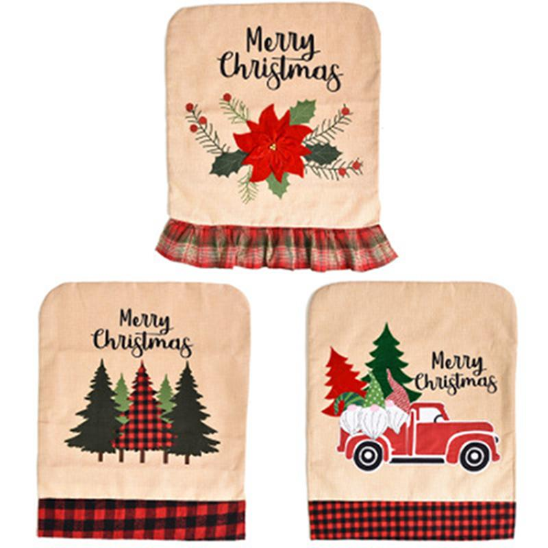 Christmas Wine Bottle Cover Flax Chair Cover Table Cloth Xmas Chair Table Decoration Christmas Kitchen Home Supplies Sea Shipping IIA419
