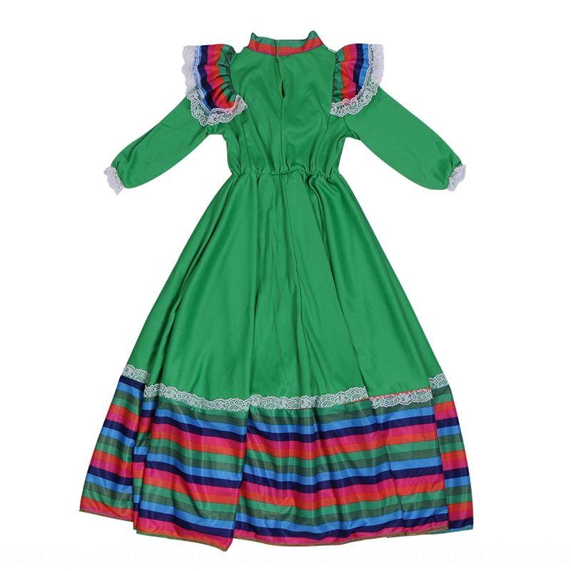 8mrRv Bright and skirt kindergarten Mexican folk big swing dress girls' traditional Big beautiful Dance Dance stage performance costume
