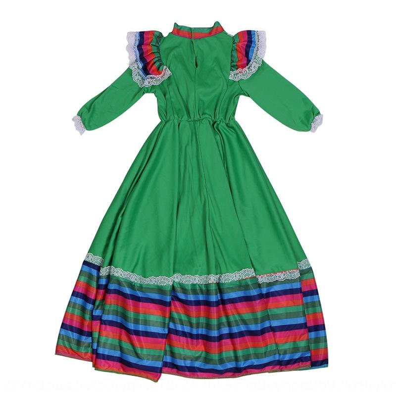 YziMH Bright dress beautiful traditional Mexican folk big swing and girls' kindergarten Big skirt Dance Dance stage performance costume