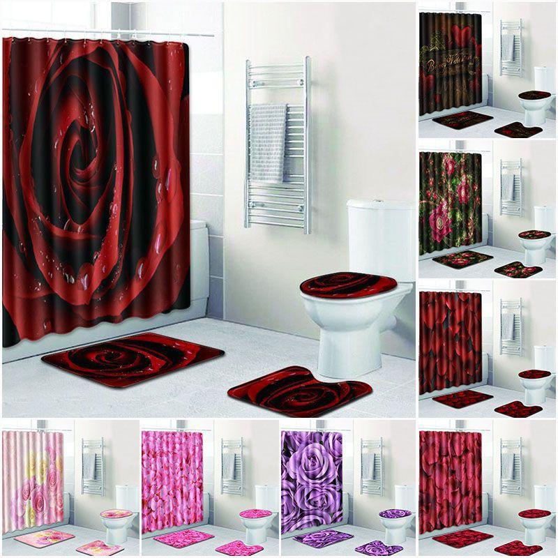 4pcs Rose Baño Juego de Cortinas Flores de poliéster impermeable de tela cortinas de ducha WC cubierta alfombra antideslizante Alfombra de baño Set