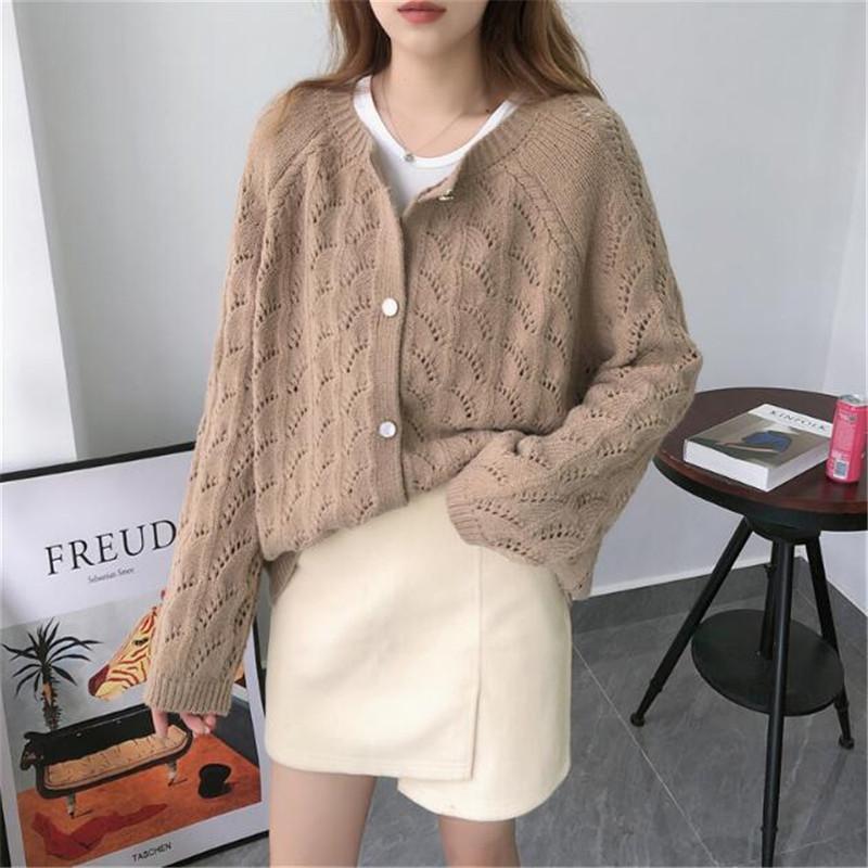 2020 Femmes Automne Hiver Vêtements Nouvelle inscription Cardigan à manches longues boutonnage simple couche de finition femmes creux pull en tricot