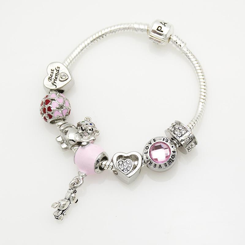 7 del braccialetto di fascino di stile 925 Pandora Bracciali per le donne Reale di cuore a forma di perline di cristallo braccialetto fai da te perline fascino europeo con box
