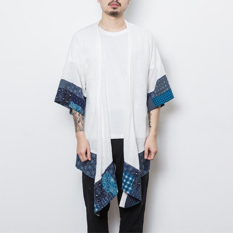5I5aF 2019 Frühling und Sommer dünne Kunstmantel der Männer lose Harajuku Stil Mantel Nationalität Ethnische Gruppe chinesischen Stil ethnischen einfache cardiga