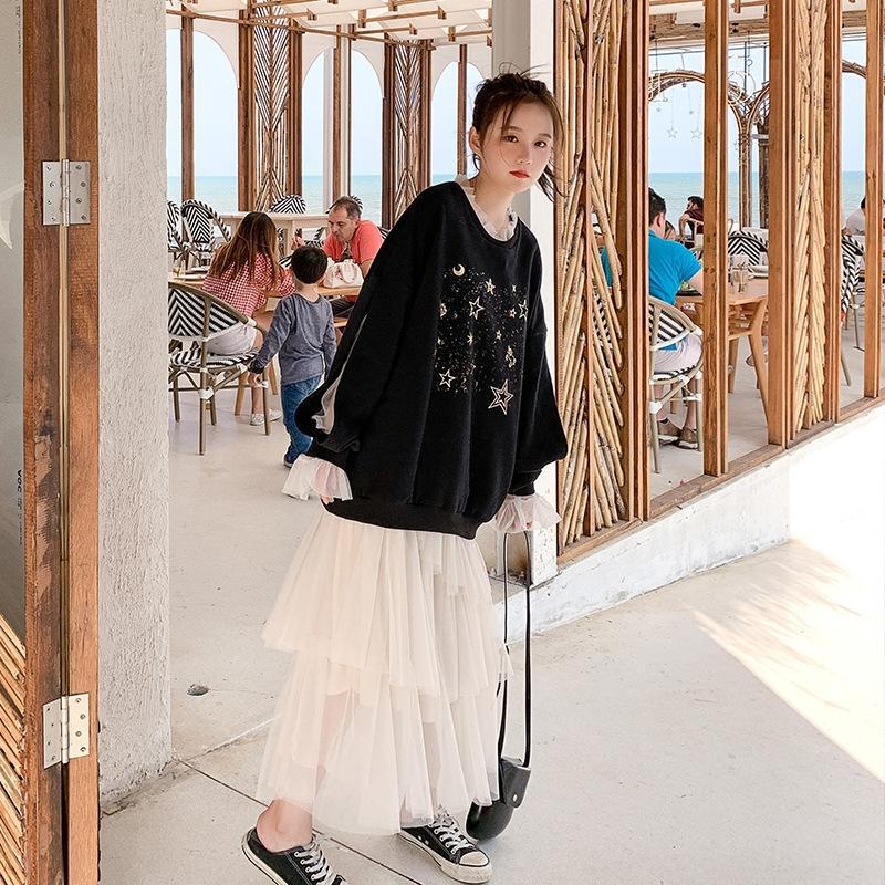 TQIbU 2020 Sonbahar yeni kol Mini makine baskılı kazak yarım uzunlukta seti peri örgü Kadın kazak etek etek etek
