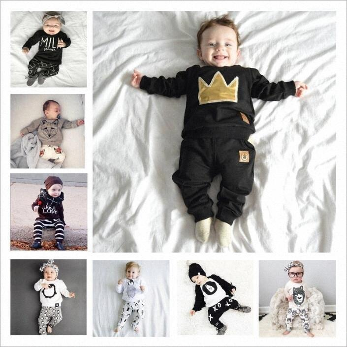 Детская одежда Мальчики Ins летние наряды девушки хлопка рубашки Брюки Цветочные Топы Леггинсы Костюмы с длинным рукавом животных Printed Детская одежда B3 I1U5 #