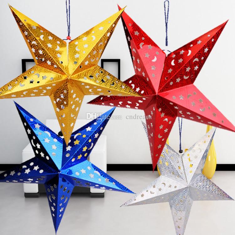 Shiny Stereoscopic Christmas Decorations Hollow star moon Laser pentagram Hangs Christmas Garden home hotel Tree porch hangs Home Decor