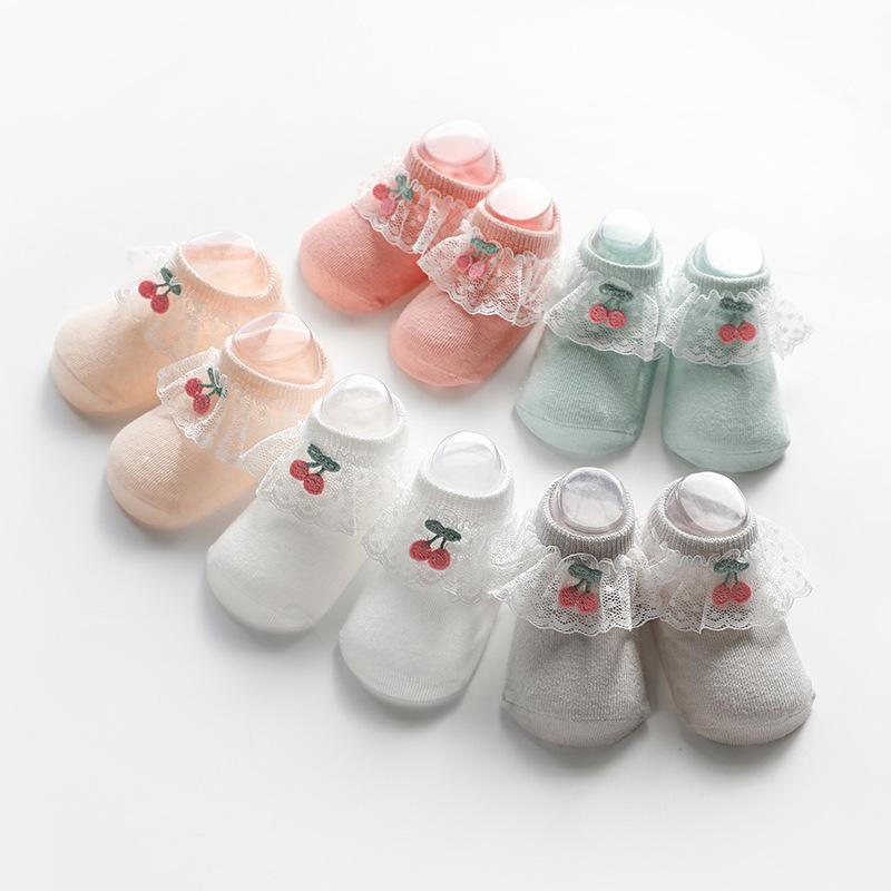 Primavera e Verão 2020 New cereja Lace Non-Slip quarto do bebê Meias do bebé Socks Socks No-Show