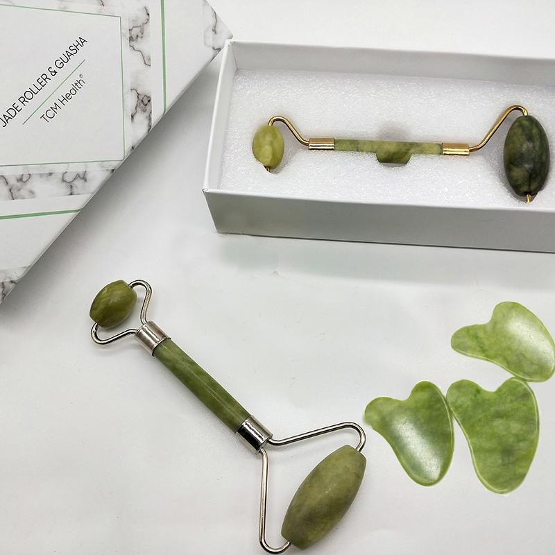 Noiseless Jade Roller for Face and Gua Sha Set With Custom Box Thin Face and Lost Weight Healthy care Tool