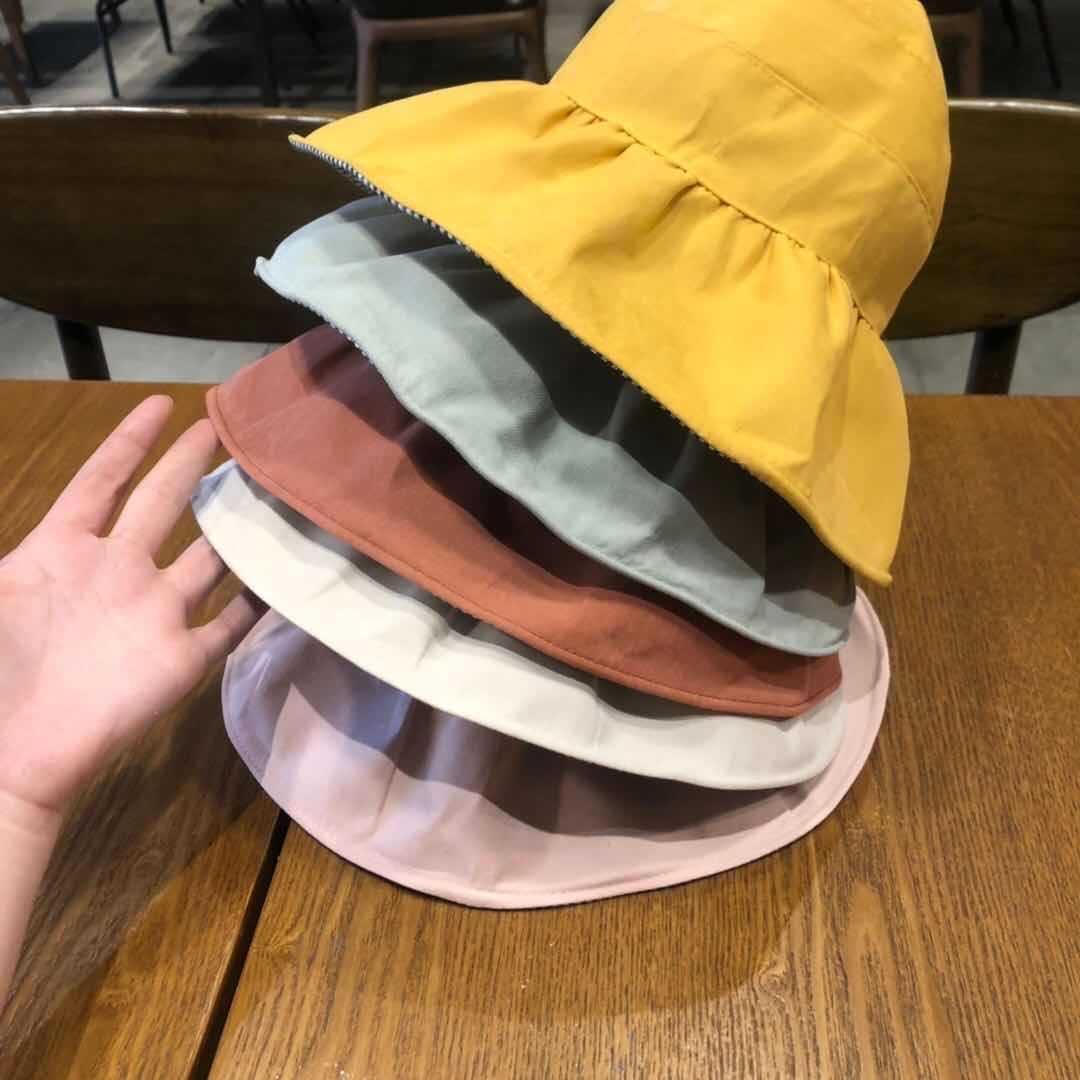 041.002 Kinderdoppelseitige BaumwollPlaid Sonne Männer und leeren Hut Sonnenschutz Eimer Hut Mode Eimer des Frauen Schatz Fischer IC