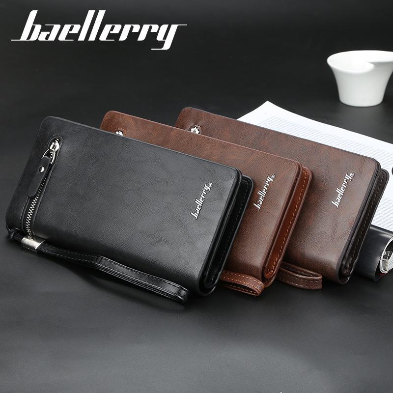 Factory Direct Mens Long Business Wallet Multi-Funktions-Handtasche Multiple Card Slots Handtasche Reißverschluss Handtasche Großhandel