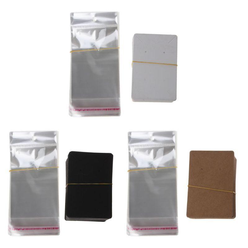 100pcs التي فارغة مجوهرات كرافت ورق تغليف بطاقة الكلمات تستخدم للحصول على قلادة القرط بطاقات العرض مع حقائب 100pcs التي الذاتي ختم