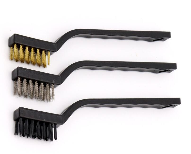 Spazzola metallica DHL Scratch Brush 3pcs / set (acciaio inox + Ottone + Nylon) Massoneria Spazzola metallica a setole per la pulizia scorie di saldatura e Rust ND