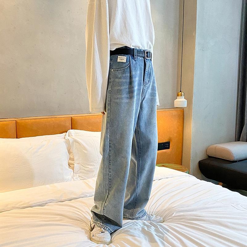 srFjF LKTM мужские # осенние ины мыть шваброй джинсы мужские и женские свободные прямые джинсы хип-хоп широкий ноги брюки широкие ноги брюки