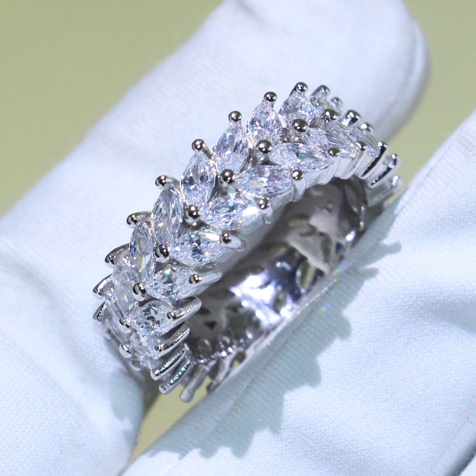 Victoria Wieck Infinito jóias de luxo 925 Sterling Silver Marquise branco impressionante Topaz Partido CZ diamante casamento banda anel para mulheres presente