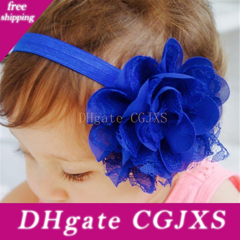 Children Hair Accessories Baby Girls Large Mesh Flower Headbands Bow With Ruffled Chiffon Flower Fashion Elastic Hair Bands Kha85