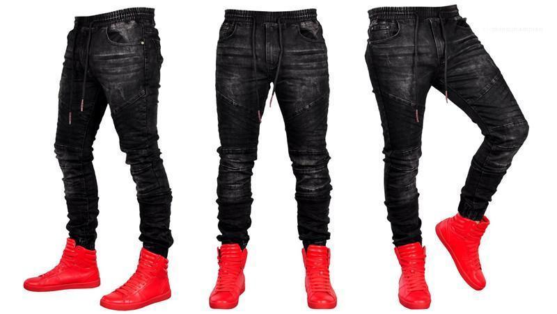 Mode Hip Hop Style de poches lambrissé Hommes Drawstring Jeans hommes Vêtements décontractés lambrissé Mens Designer Jeans