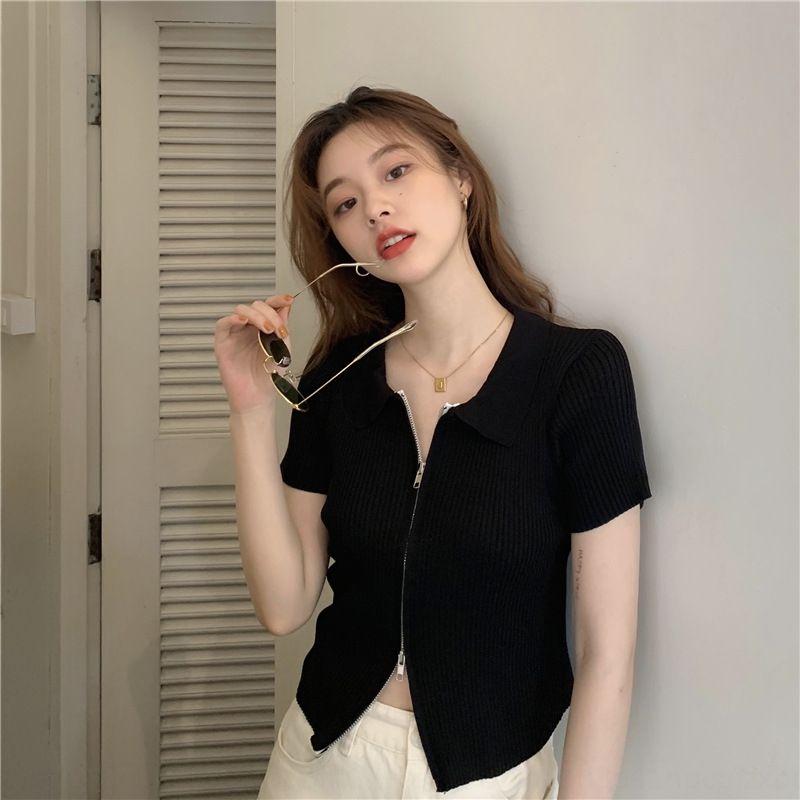 XrxYA Beautiful knitted top women's short cardigan summer thin Top zipper Coat tight zipper polo collar coat short New 2020 sleeve