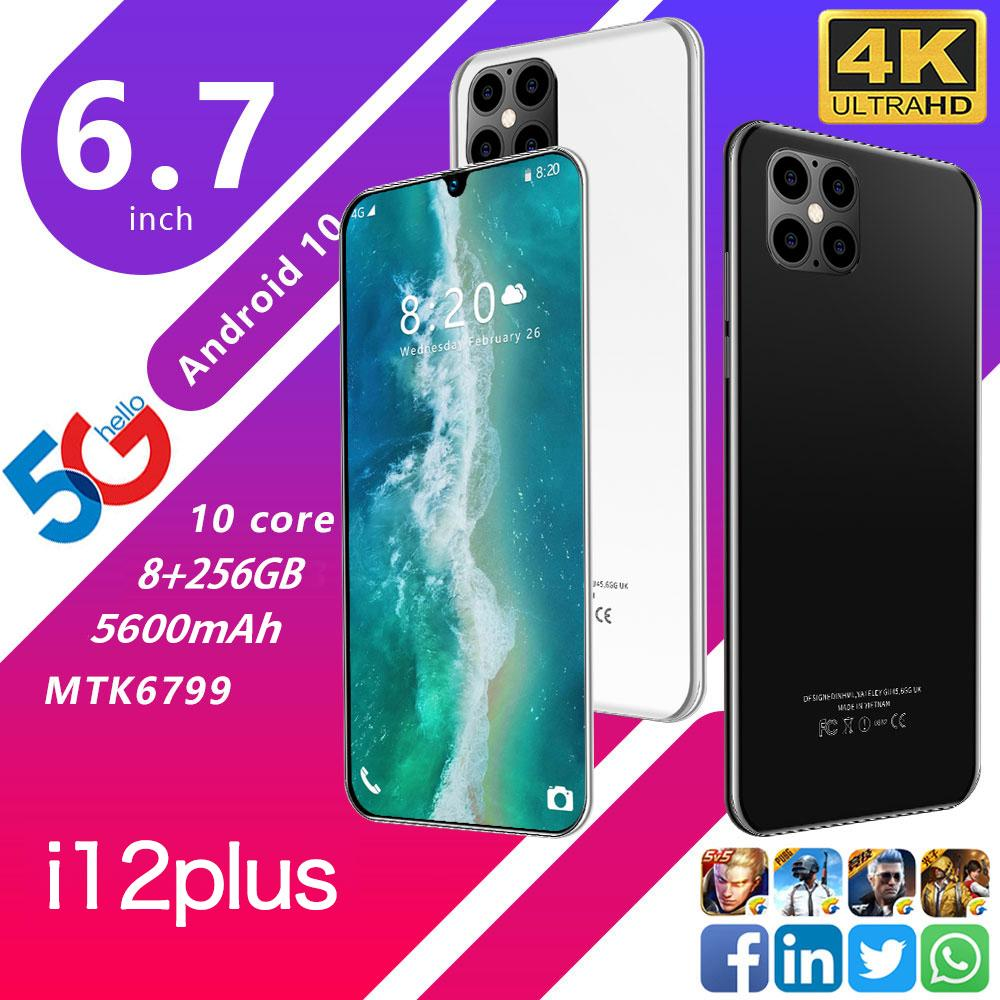 "Cep Telefonu Android 4G 3G Smartphone 6.7"" Yüz Kilidi Mobil Akıllı Telefonlar 8G 256g Çift SIM Mobilephones Telefon Wifi"