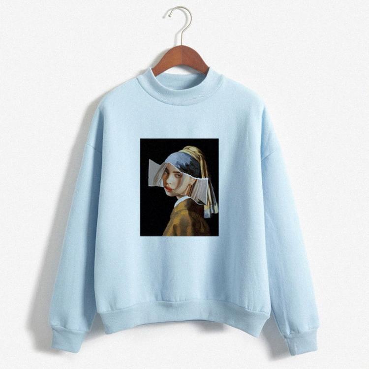 mulheres azul-celeste hoodies Puff luva o-pescoço deprimido impressão hoodies menina doce rosa cáqui doces linda camisolas cor do outono hTN8 #