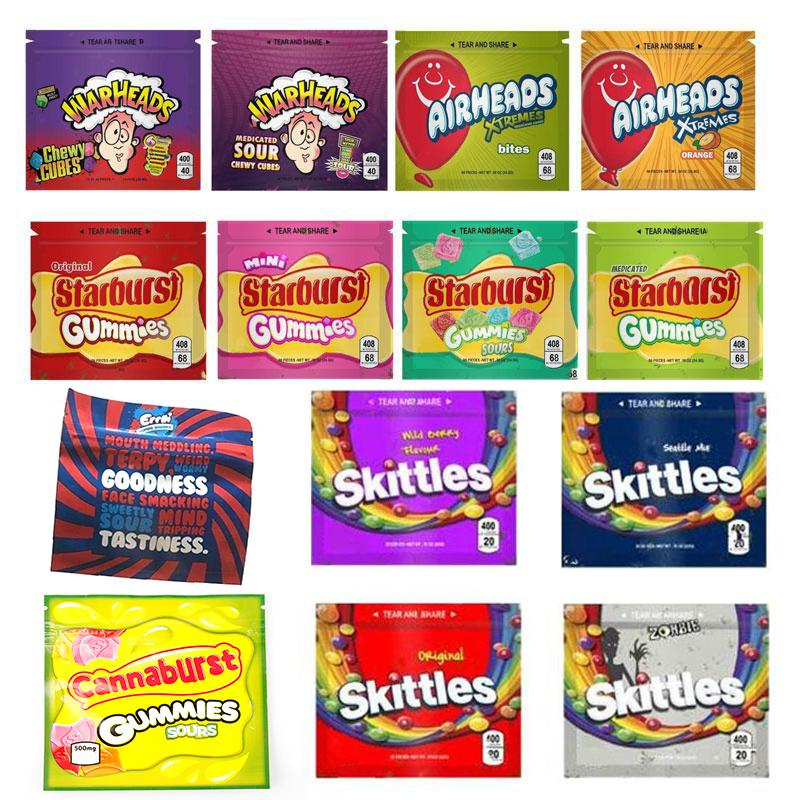 WARHEADS Bag AIRHEADS Xtremes Starburst Gummies Skittles Cannaburst ERRLLI Rainbow Empty Mylar Bags Packaging 400mg Zipper Package